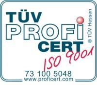 Logo TUV PROFI CERT ISO 9001